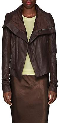 Rick Owens Women's Padded Blistered-Leather Biker Jacket - Raisin