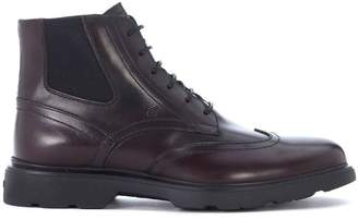Hogan H304 New Route Brown Leather Ankle Boots