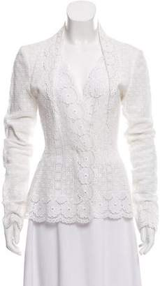 Oscar de la Renta Embroidered Shawl Collar Jacket