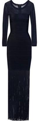 Herve Leger Stretch Knit-paneled Fringed Bandage Gown