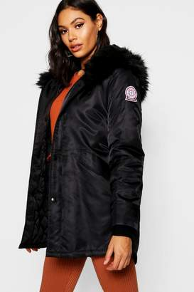 boohoo Luxe Faux Fur Trim Sporty Parka
