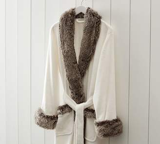 Pottery Barn Faux Fur Robe Without Hood - Ivory/Gray