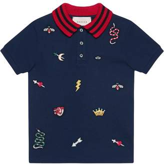Gucci Kids Children's polo with symbols embroidery
