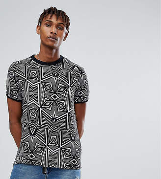 Reclaimed Vintage Inspired T-Shirt In Black Geometric Print With Turtleneck