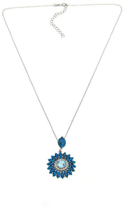 "Colleen Lopez ""Daylight Blossom"" Turquoise, Sky Blue Topaz and White Topaz Flower-Shaped Sterling Silver Pendant with 18"" Chain"