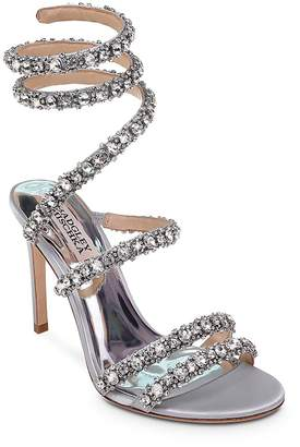 Badgley Mischka Women's Peace Embellished Satin Ankle Wrap High Heel Sandals