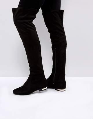 Truffle Collection Metal Heel Insert Flat Over Knee Boot