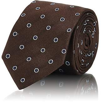 Barneys New York MEN'S CIRCLE-PATTERN SILK TWILL NECKTIE - BROWN