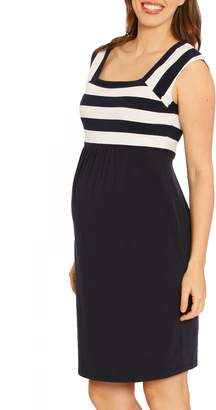 Angel Maternity Fitted Stripe Maternity Dress