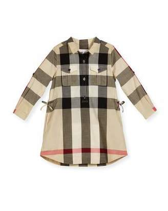 Burberry Darielle Long-Sleeve Check Shirtdress, New Classic, Size 4-14