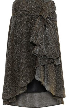 Faith Connexion Knotted Metallic Stretch-knit Skirt