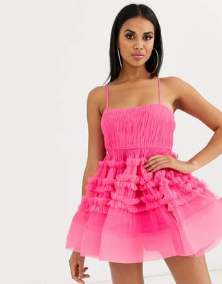 Lace & Beads structured tulle mini dress with built in bodysuit in bright fuchsia