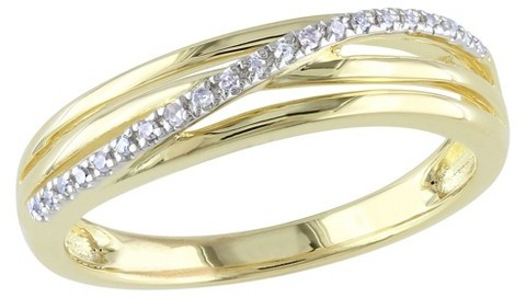 Diamond 0.06 CT. T.W. in Yellow Silver Cocktail Ring
