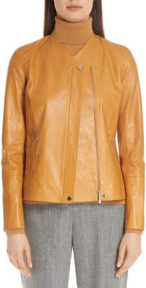 Lafayette 148 New York Devlin Glazed Lambskin Leather Jacket