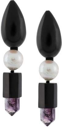 Monies mixed stones drop earrings