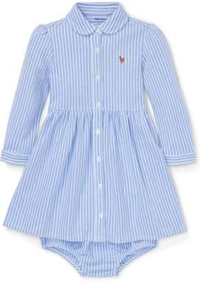 Ralph Lauren Striped Mesh Oxford Dress