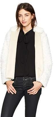 Michael Stars Women's Teddy Fur Long Sleeve Reversible Short Coat