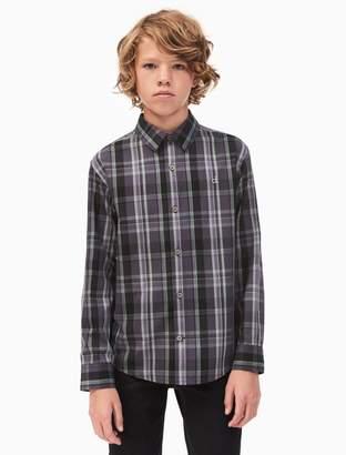 Calvin Klein boys dusk plaid shirt