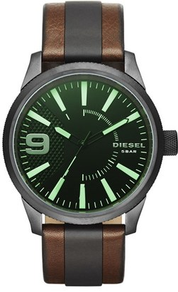 DIESEL ® 'Rasp' Leather Strap Watch, 46mm $180 thestylecure.com