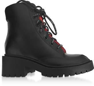 Kenzo Black Leather Women's Combat Boots