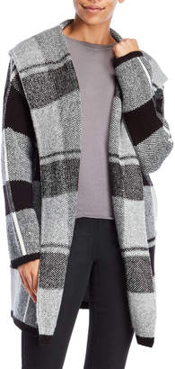 Matty M Hooded Plaid Sweater