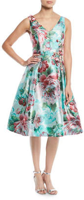 Rickie Freeman For Teri Jon Floral Jacquard Gazaar Party Dress