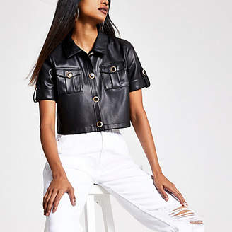 River Island Petite black faux leather cropped shirt