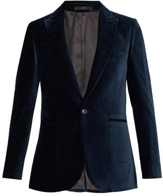 Paul Smith Single Breasted Velvet Blazer - Mens - Dark Navy