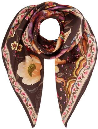 Salvatore Ferragamo Tree Of Life Printed Silk Scarf