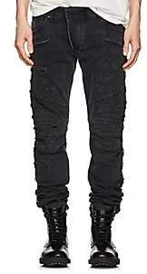 Pierre Balmain MEN'S DISTRESSED SKINNY BIKER JEANS-BLACK SIZE 31