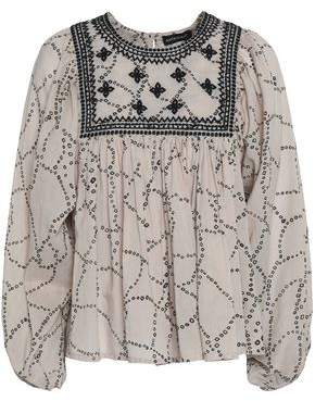 Antik Batik Embroidered Printed Cotton-Voile Blouse