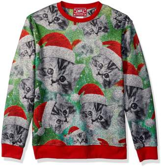 Hybrid Hybriden's All Over Santa Kittens Holiday Pullover
