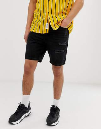 Bershka slim fit denim shorts with rips in black