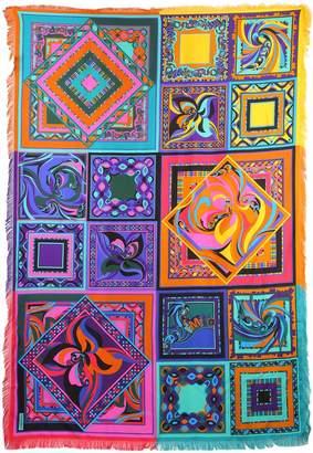 Emilio Pucci Printed Silk Twill Scarf W/ Fringe