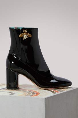 Gucci Bee Detail Patent Leather Ankle Boots