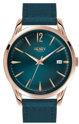 Henry London 'Stratford' Leather Strap Watch, 38mm