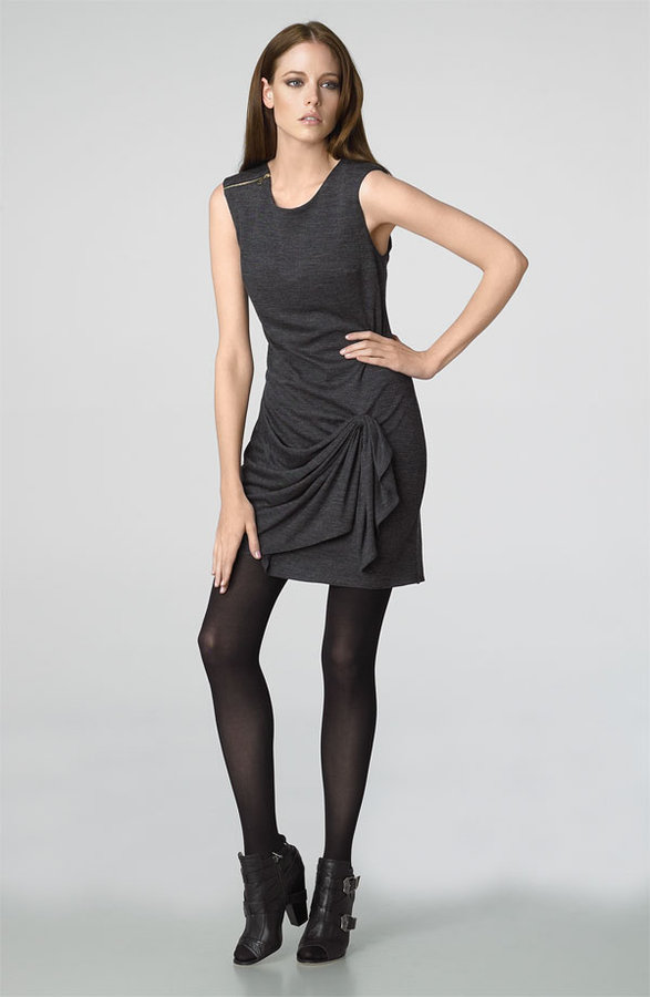 Jay Godfrey Drape Front Wool Jersey Dress