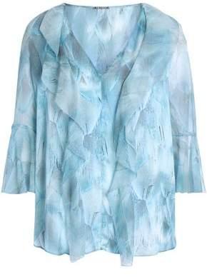 Elie Tahari Ruffled Printed Silk-Georgette Blouse