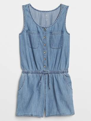 Gap Button-Front Denim Romper