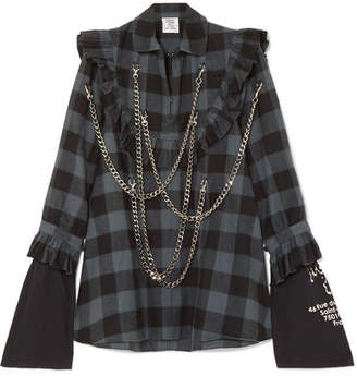 Vetements Chain-embellished Checked Cotton-flannel Dress - Gray