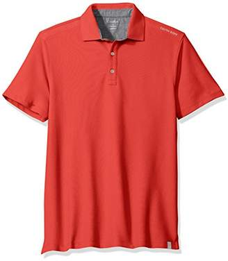 Calvin Klein Men's Short Sleeve Large Logo Pique Polo Shirt