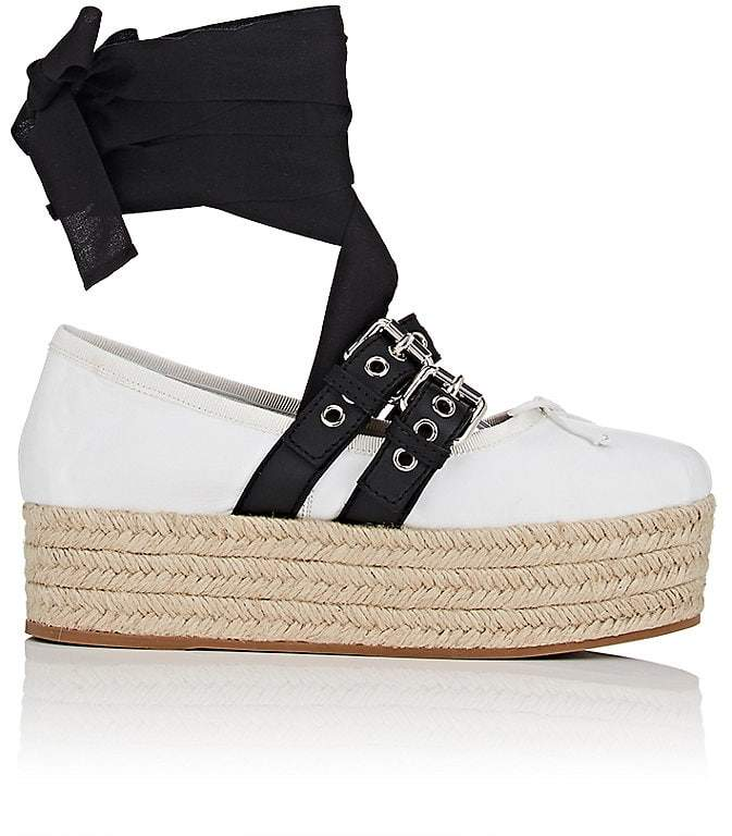 Miu Miu Women's Buckled-Strap Leather Sneakers