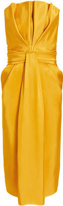 Brandon Maxwell Petal Front Strapless Dress