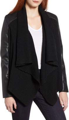 Bagatelle Faux Leather and Knit Drape Jacket