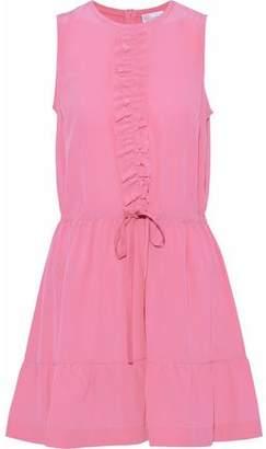 RED Valentino Ruffle-trimmed Washed-silk Mini Dress