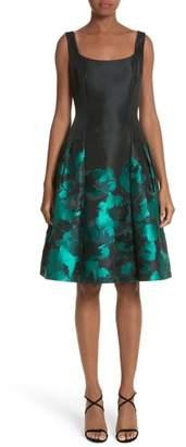 Carmen Marc Valvo Couture Floral Jacquard Cocktail Dress