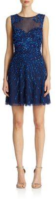 Adrianna Papell Illusion Sequined Dress