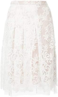 No.21 lace overlay split leg skirt