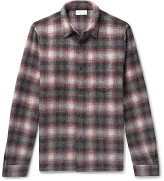John Elliott Checked Wool-blend Flannel Shirt - Gray