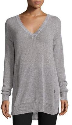 ATM Anthony Thomas Melillo Gauge-Knit V-Neck Sweater, Cement/Grout $375 thestylecure.com